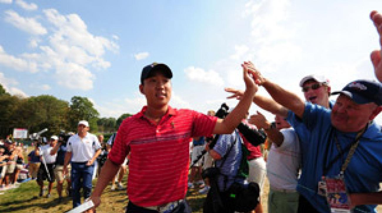 Anthony Kim celebrated with the home crowd after his win over Sergio Garcia.