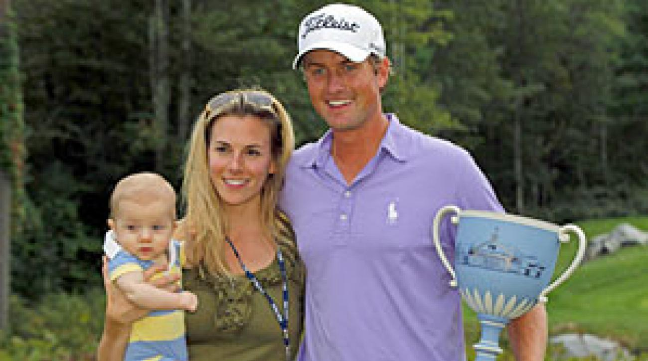 Webb Simpson with his wife, Dowd, and son, James.