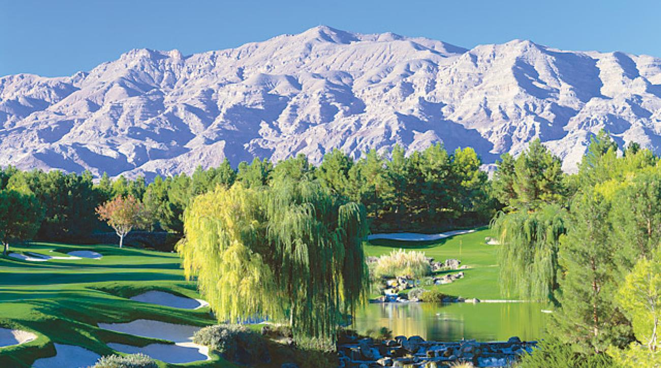 18th hole at Shadow Creek Golf Course, Las Vegas.