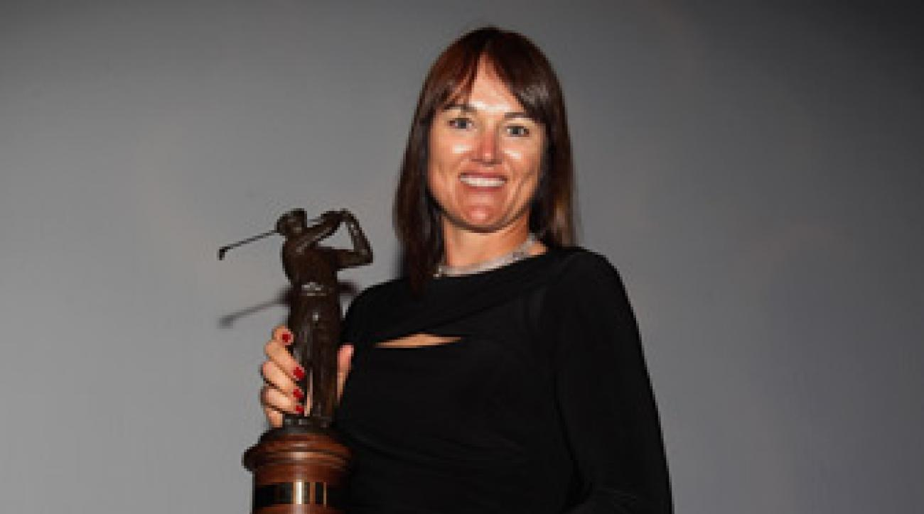 Sophie Gustafson won the Ben Hogan award during the Golf Writers Association of America dinnner Tuesday night.