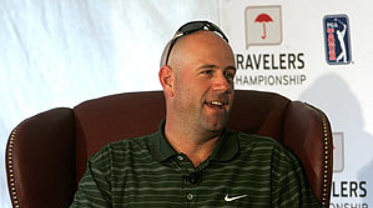 Stewart Cink gave a news conference Monday at TPC River Highlands.