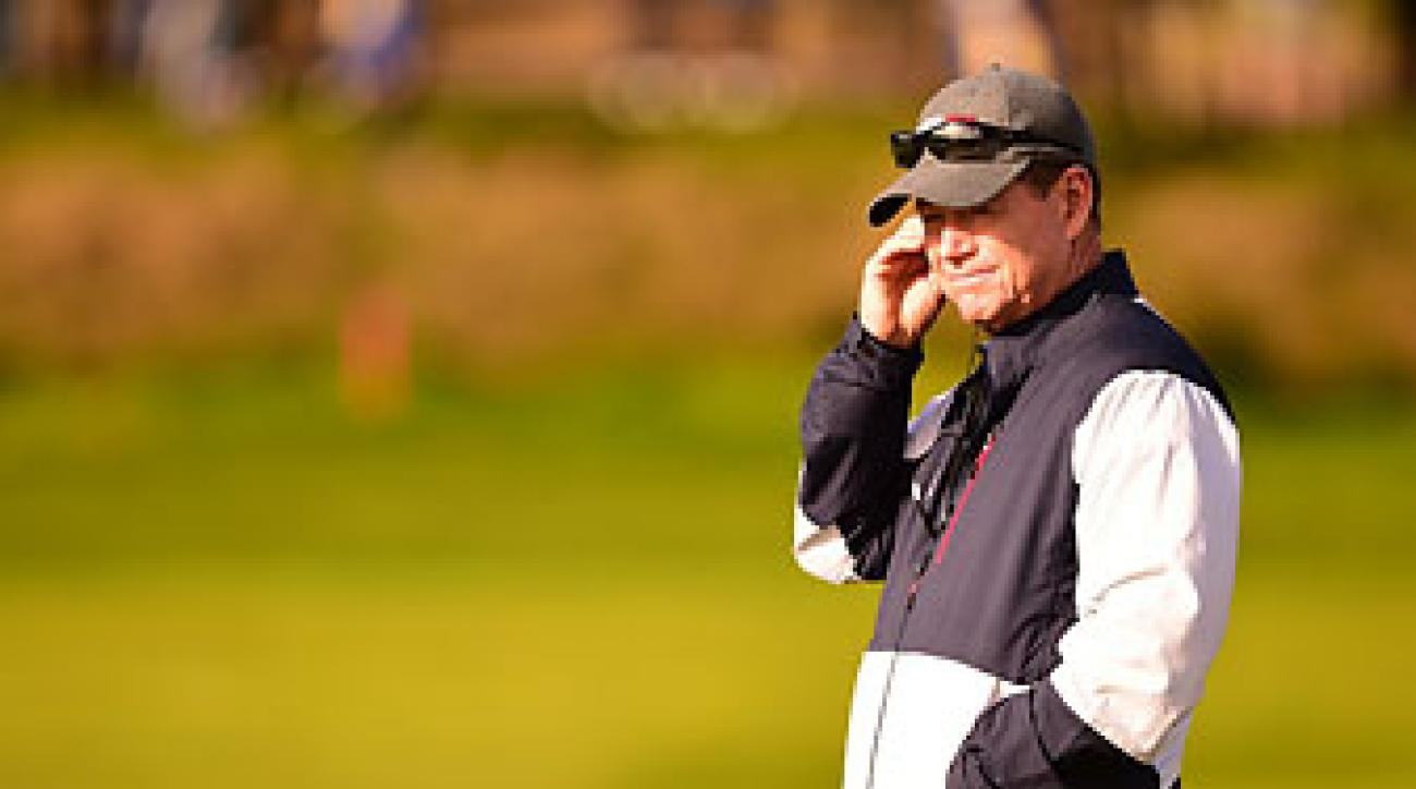 Tom Watson watches four-ball matches on Friday at the 2014 Ryder Cup.