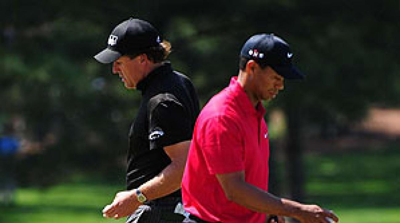 Through 24 rounds, it's Woods 11, Mickelson 9 with 4 ties.