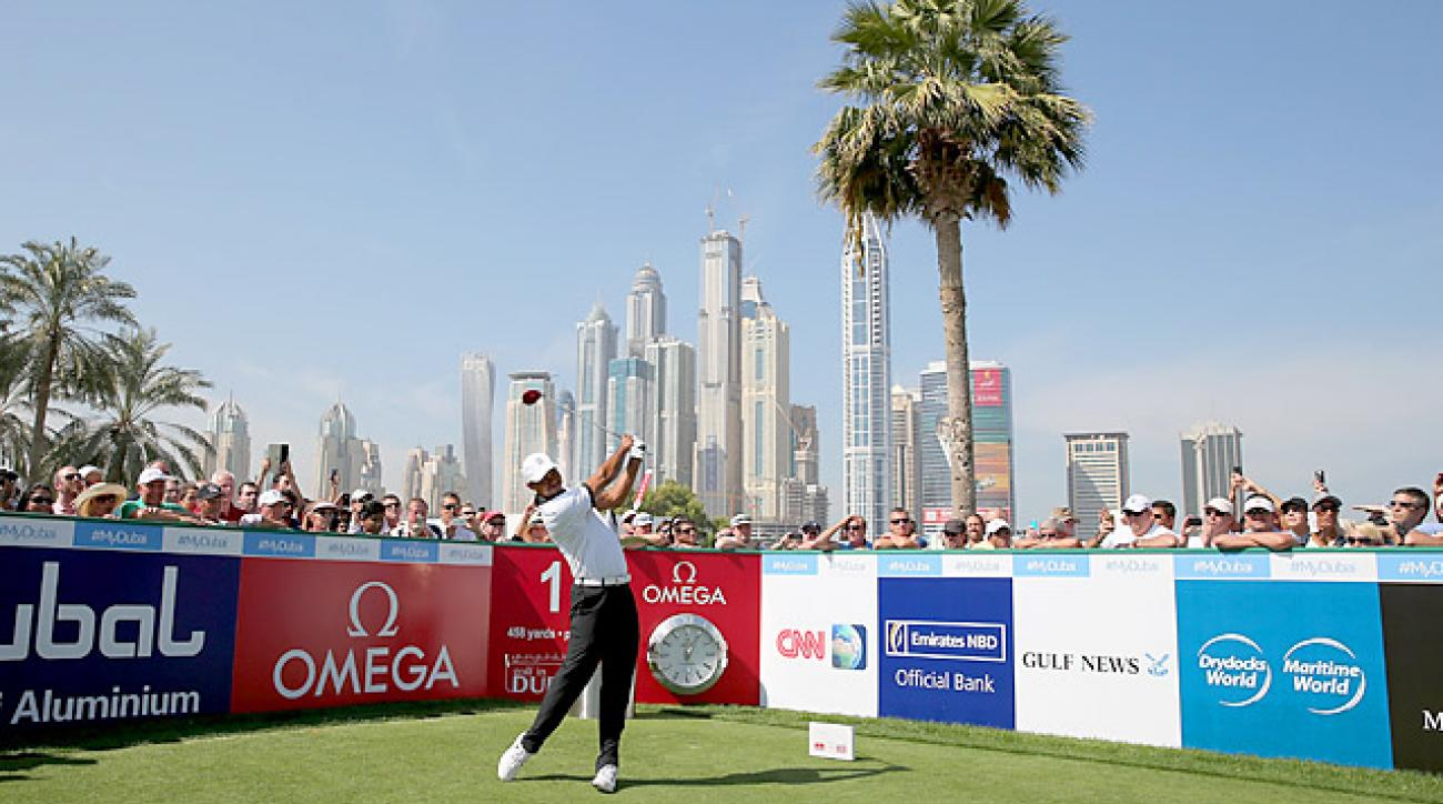 Woods played in a past champions exhibition in Dubai on Tuesday.