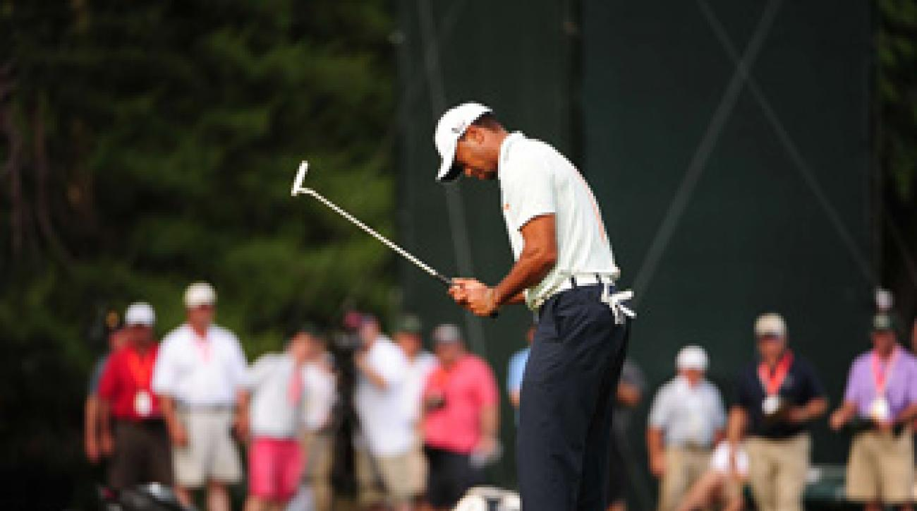 Tiger Woods struggled Saturday, making seven bogeys on his way to a six-over 76.