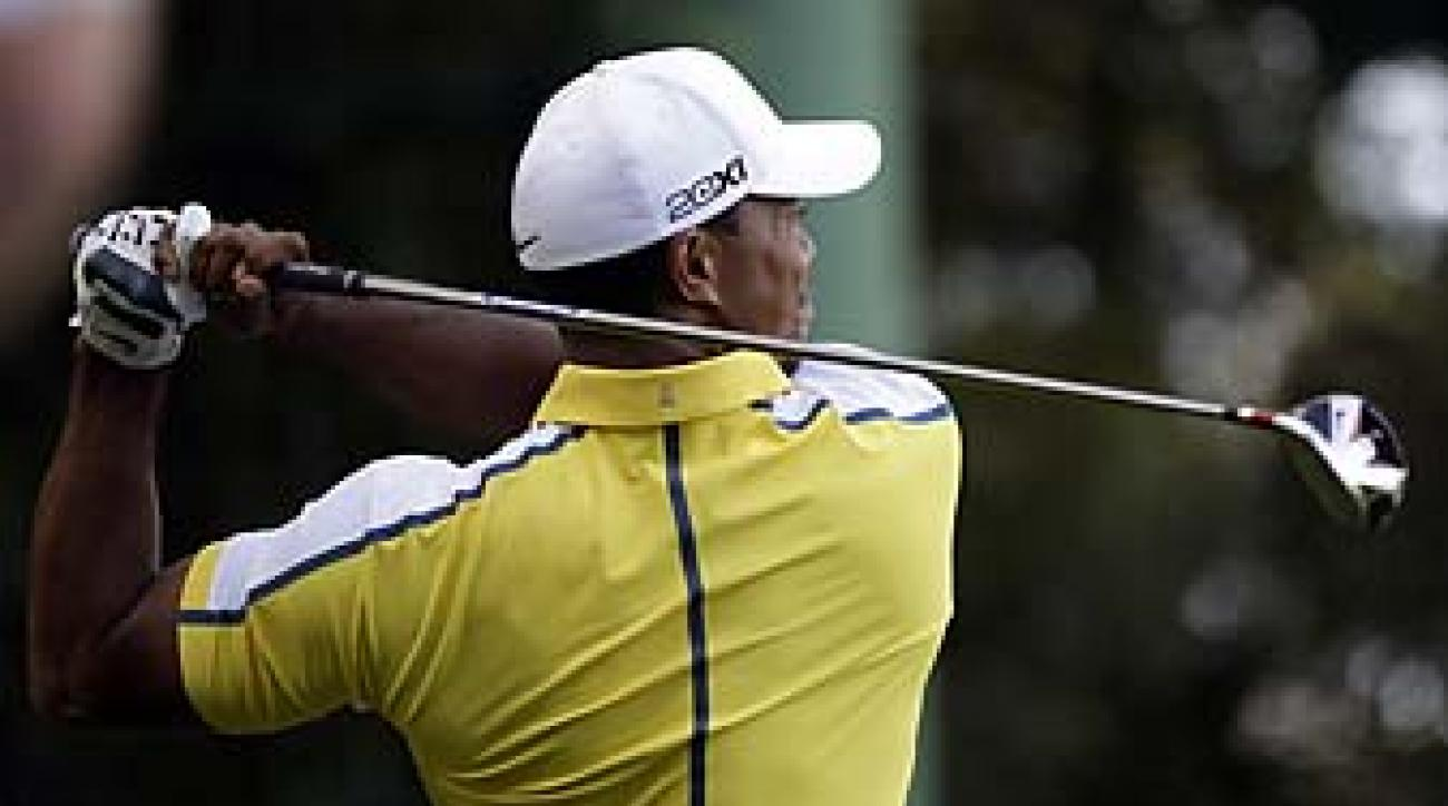 Tiger Woods made two bogeys Friday on the back nine at Augusta National, where he hasn't broken par since 2011.