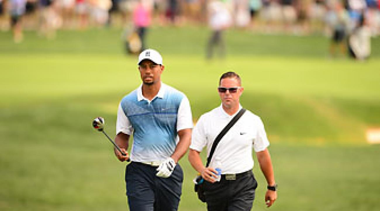 Tiger Woods and swing coach Sean Foley at the 2014 PGA Championship. Foley and Woods parted ways in August and Woods has not hired a new coach.