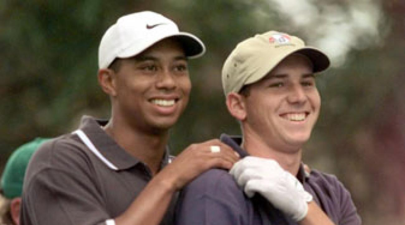 Tiger Woods and Sergio Garcia in happier times at the 1999 Masters.