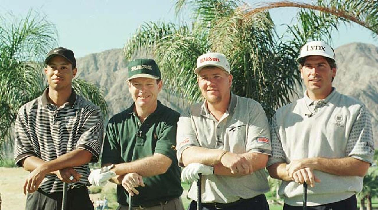 Tiger Woods, Tom Watson, John Daly and Fred Couples at the 1996 Skins Game at Rancho La Quinta Country Club in La Quinta, Calif.