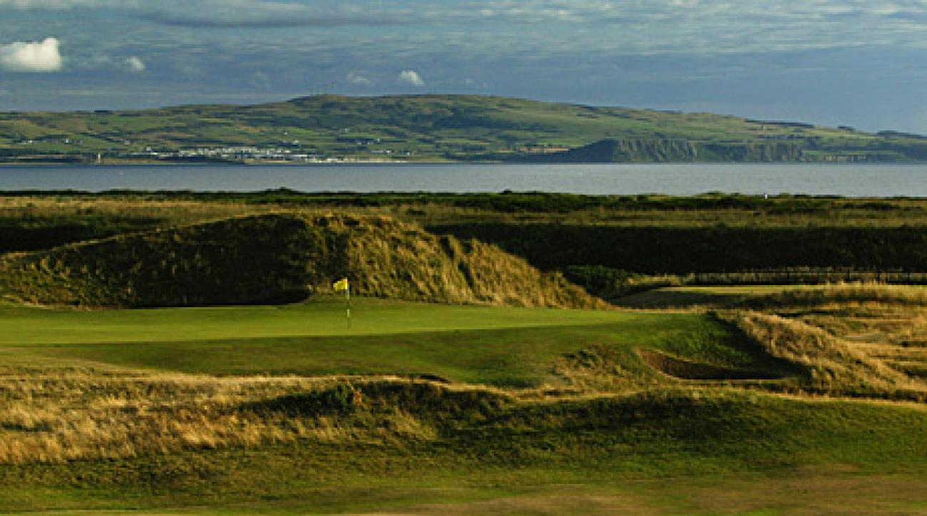 """The """"Postage Stamp"""" par 3, 8th green at Royal Troon."""