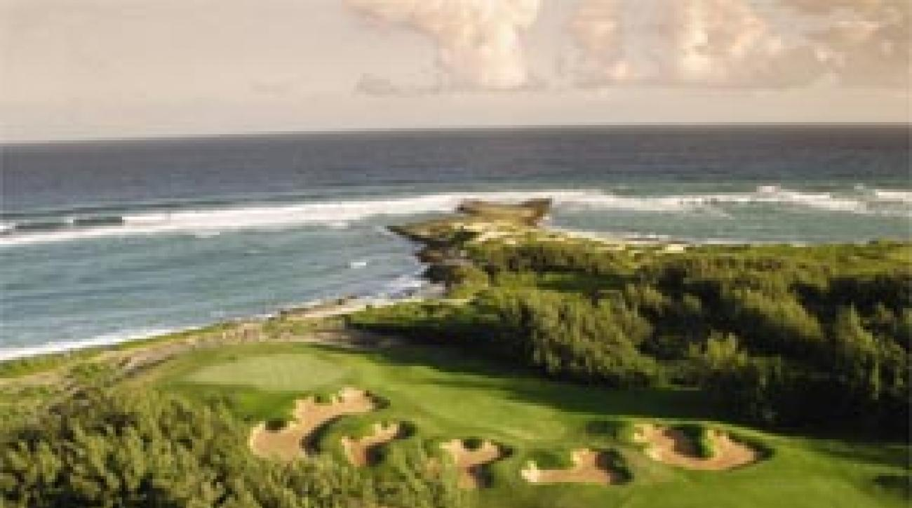 """The 17th hole on the Palmer Course <span class=""""picturesource"""">Turtle Bay Resort</span>"""