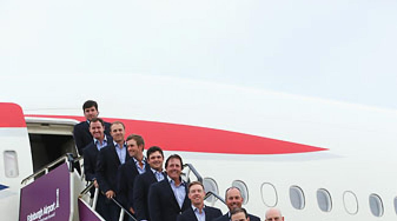 The U.S. Ryder Cup team arrives at Edinburgh Airport on Monday.