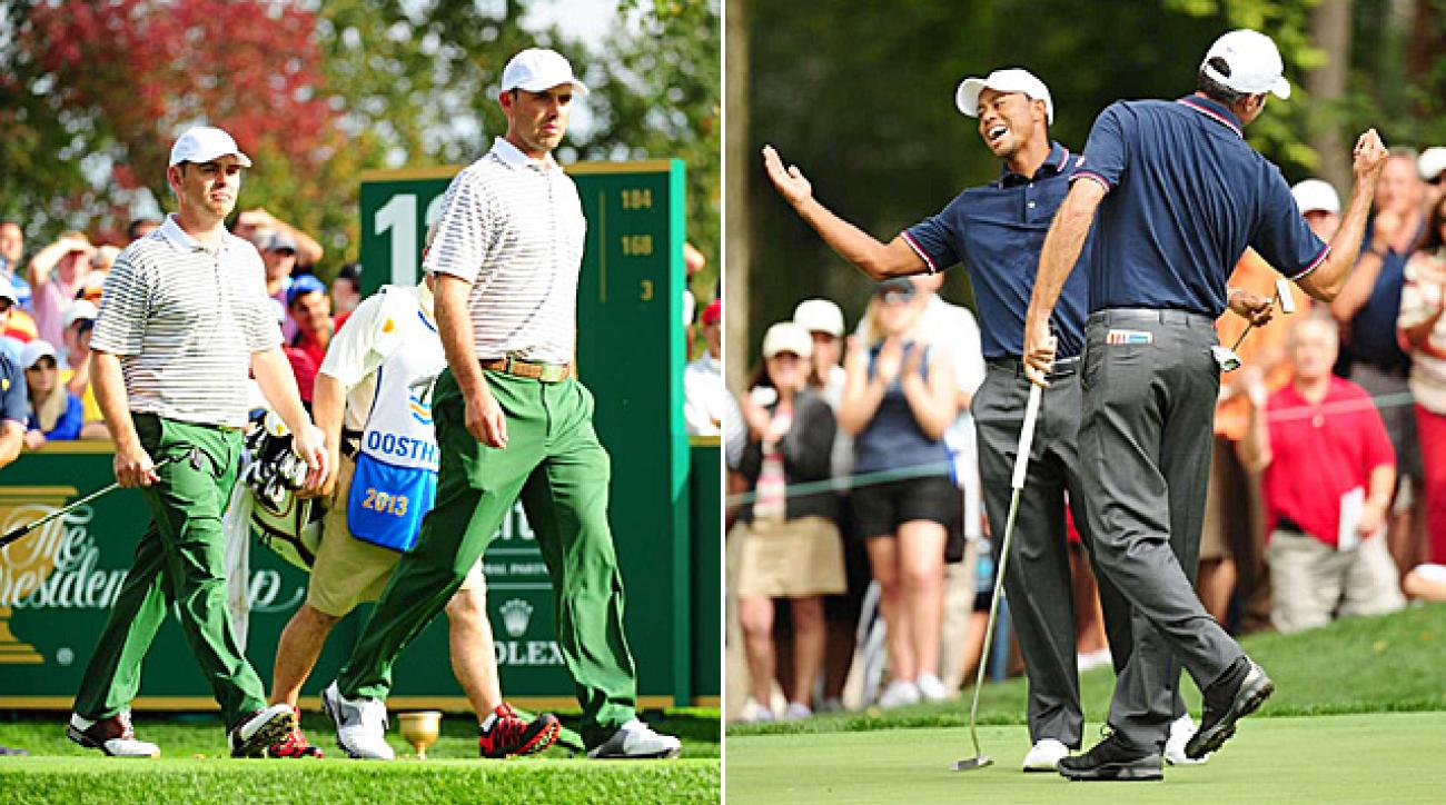 Internationals Louis Oosthuizen and Charl Schwartzel won their match 2 and 1, while Americans Tiger Woods and Matt Kuchar dominated their contest 5 and 4.