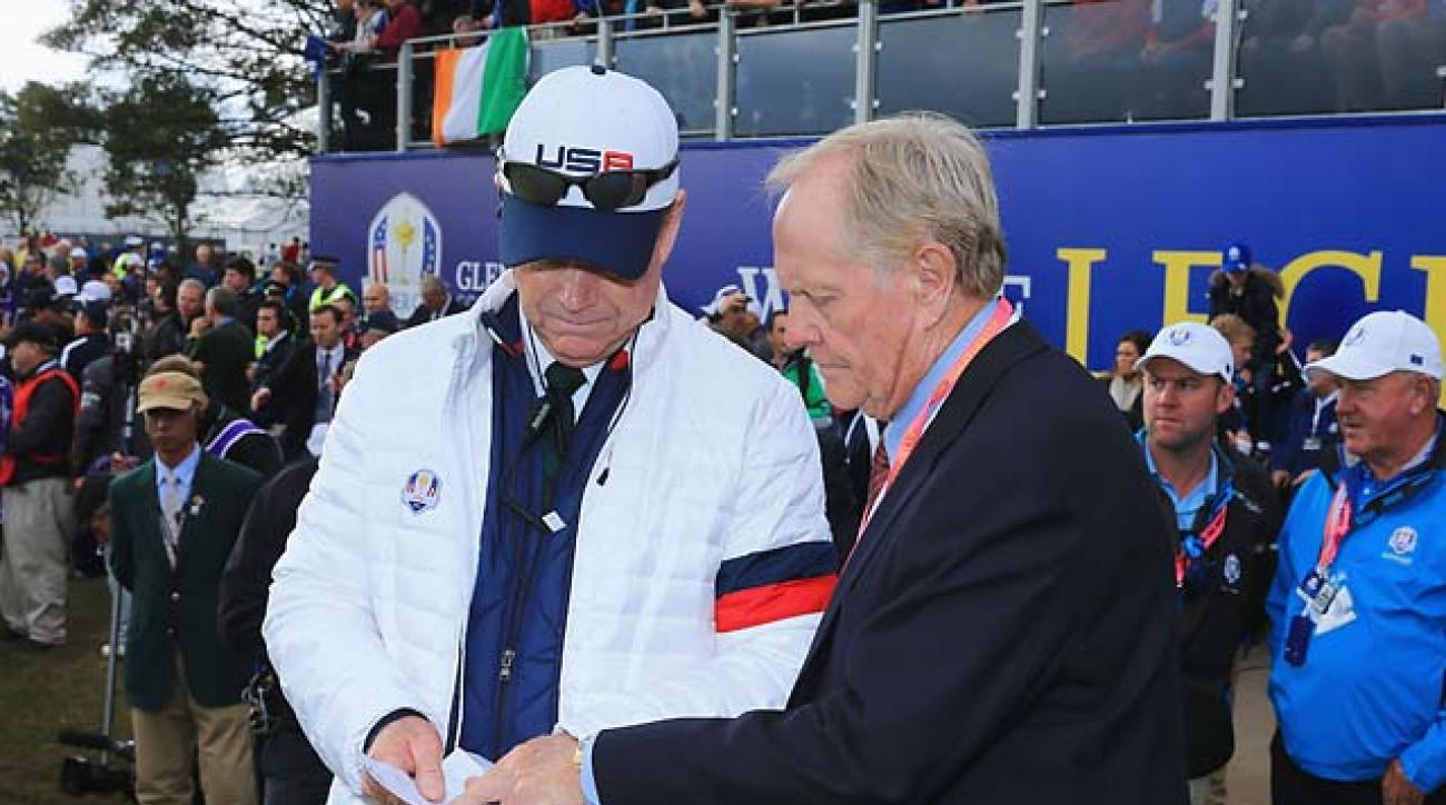 Tom Watson and Jack Nicklaus at the first tee of the 2014 Ryder Cup in Scotland.