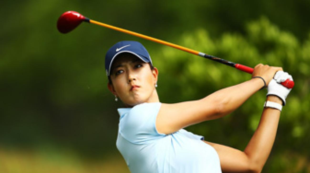 Michelle Wie was 11 over par with one hole remaining in the second round.