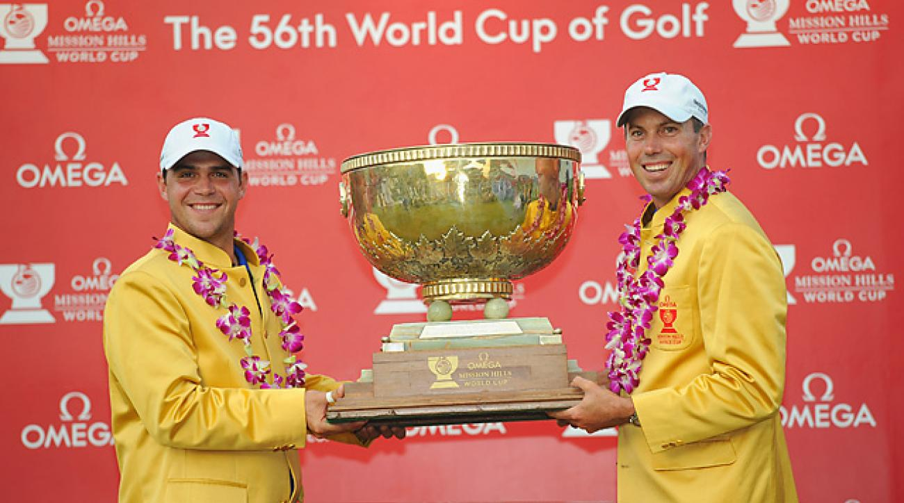 Americans Gary Woodland (left) and Matt Kuchar took home to the World Cup in 2011. Kuchar is back this year to defend his title.