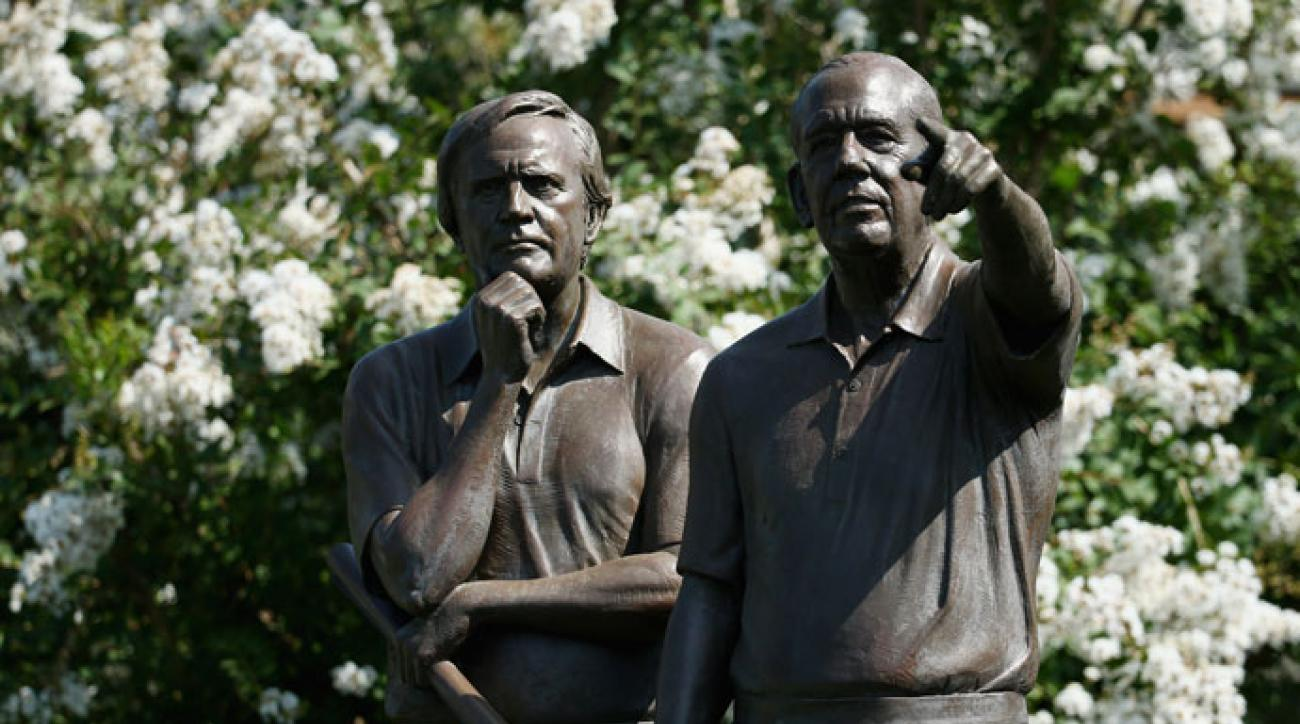 The statue that honors Jack Nicklaus and Valhalla founder Dwight Gahm sits near the clubhouse at Valhalla Golf Club. Gahm died at 96 on Monday.