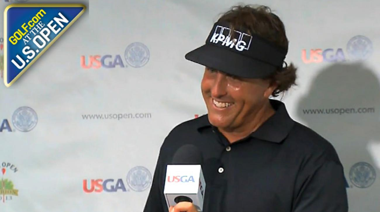Phil says he feels great after red-eye flight, opening 67 at Merion