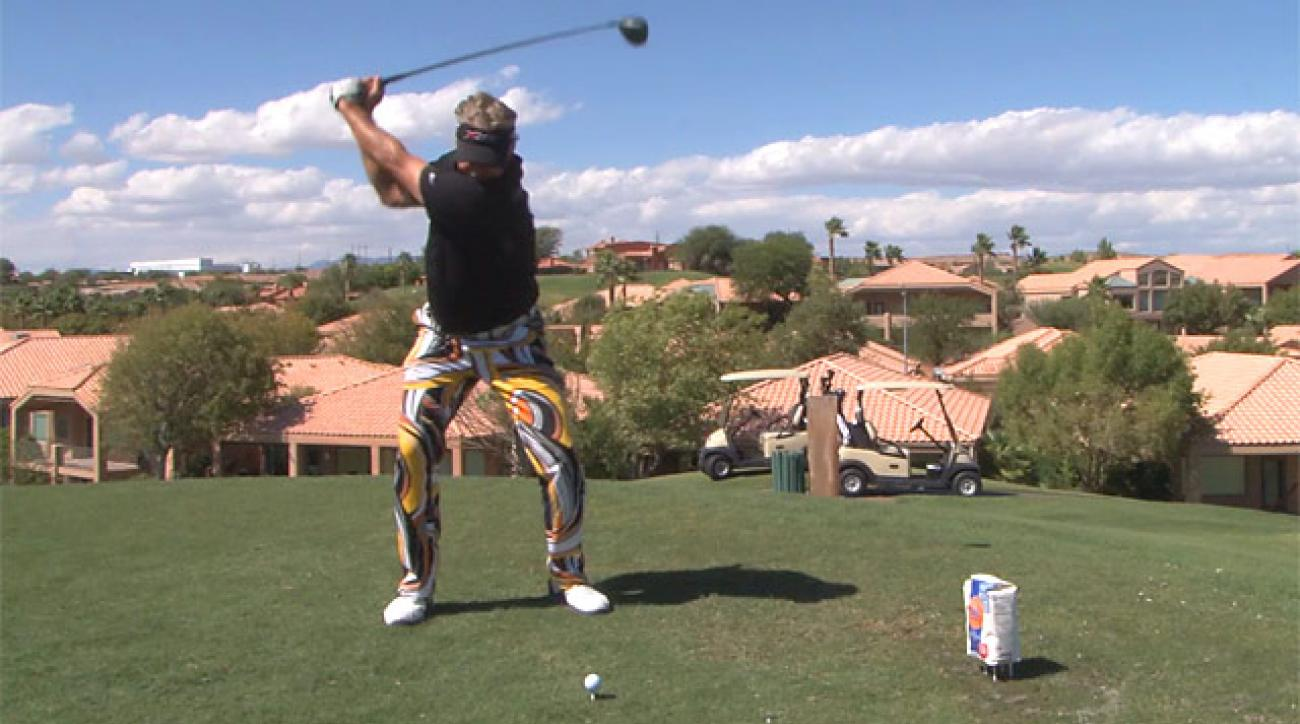 Long-drive champ Bobby Wilson rips through bag of flour