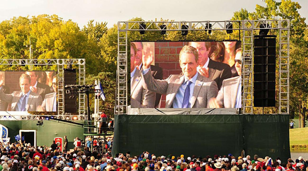 Giant video screens enhancing fan experience at golf tournaments