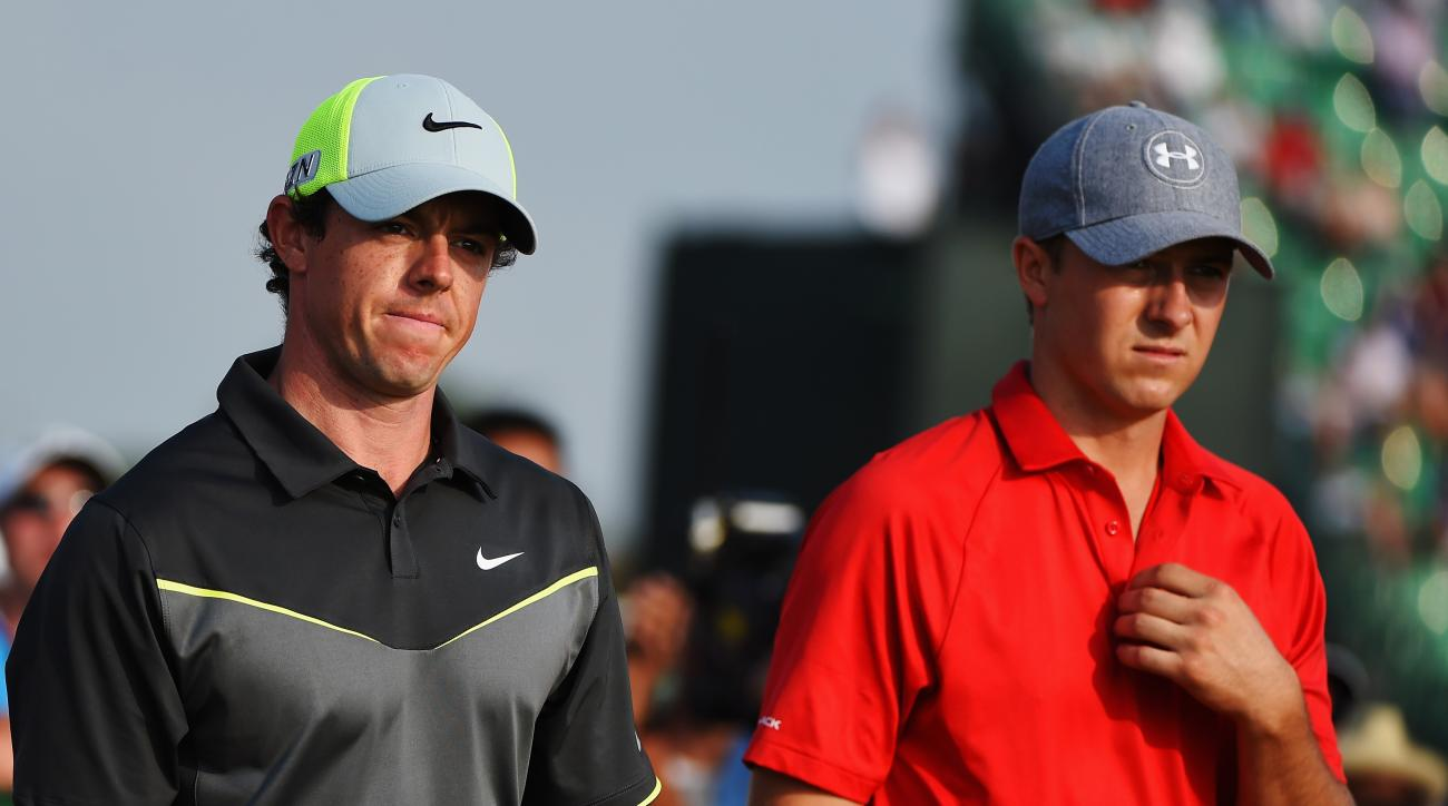 Rory McIlroy and Jordan Spieth at the 2014 Open Championship in Hoylake, England.