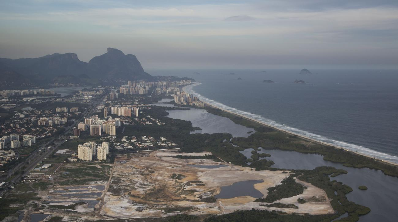 This May 13, 2014 file aerial photo, shows the Rio 2016 Olympic golf course under construction in Rio de Janeiro