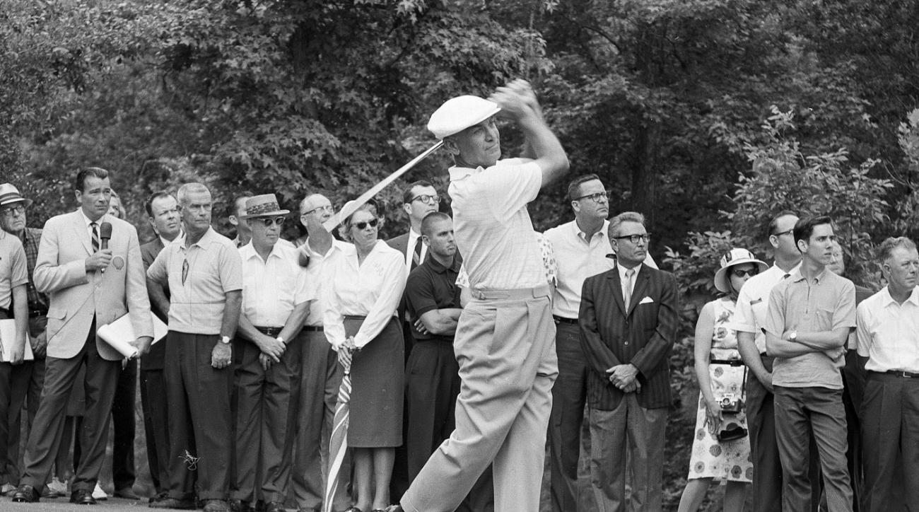 "Ben Hogan on the tee during the 1965 ""Shell's Wonderful World of Golf Match"" against Sam Snead. Hogan hit every fairway and every green."