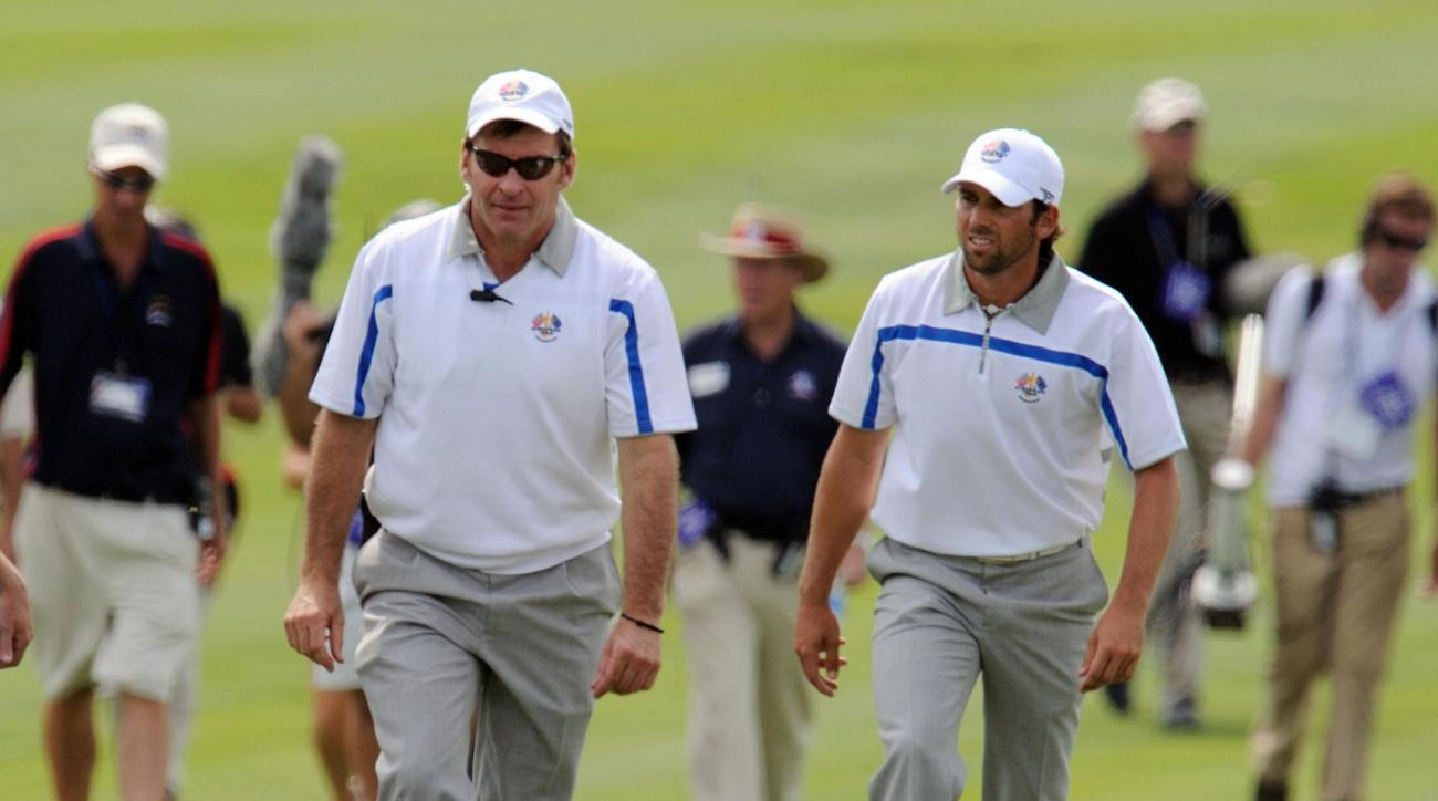 Captain Nick Faldo and Sergio Garcia of Team Europe walk to the 18th green during the first day of Ryder Cup competition Sept. 19, 2008, at Valhalla in Louisville, Ky.