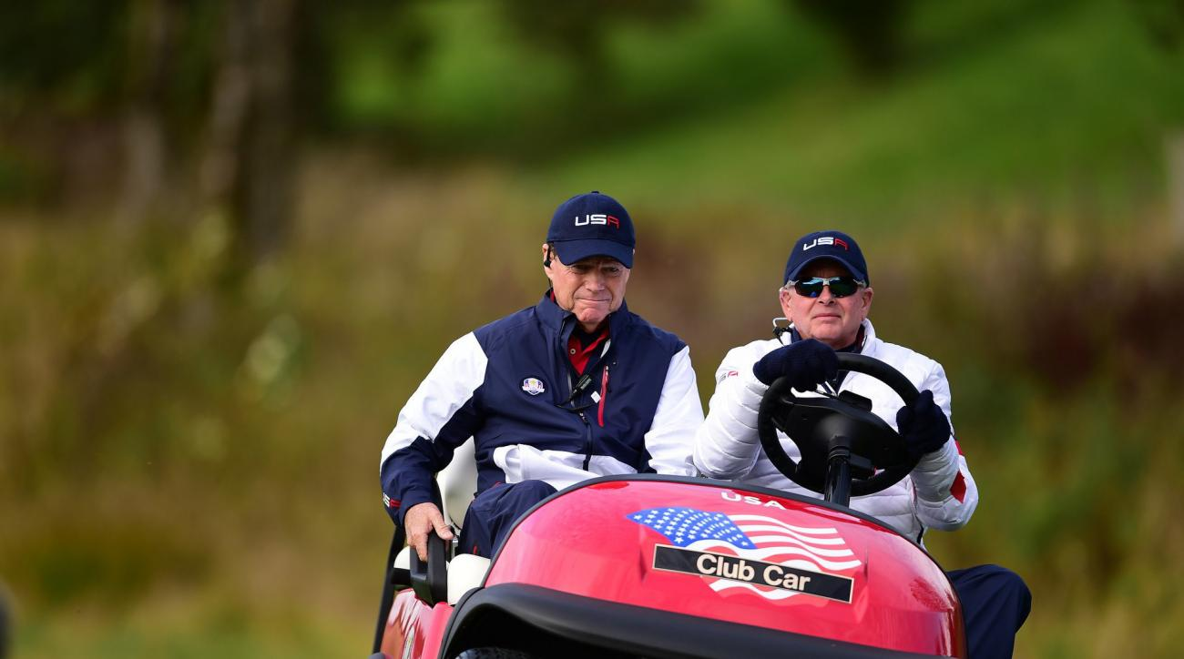 Tom Watson and Ted Bishop at the 2014 Ryder Cup in Gleneagles, Scotland.