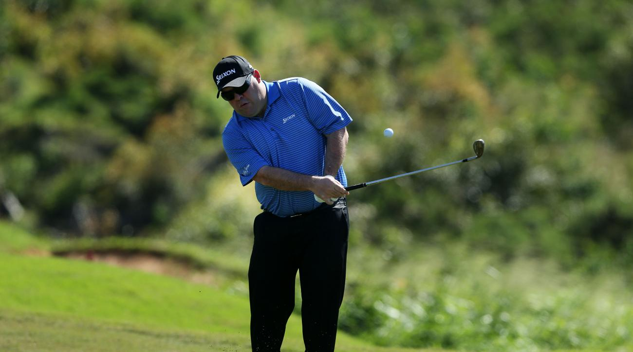 Kevin Stadler plays a shot during a practice round prior to the start of the 2015 Hyundai Tournament of Champions.
