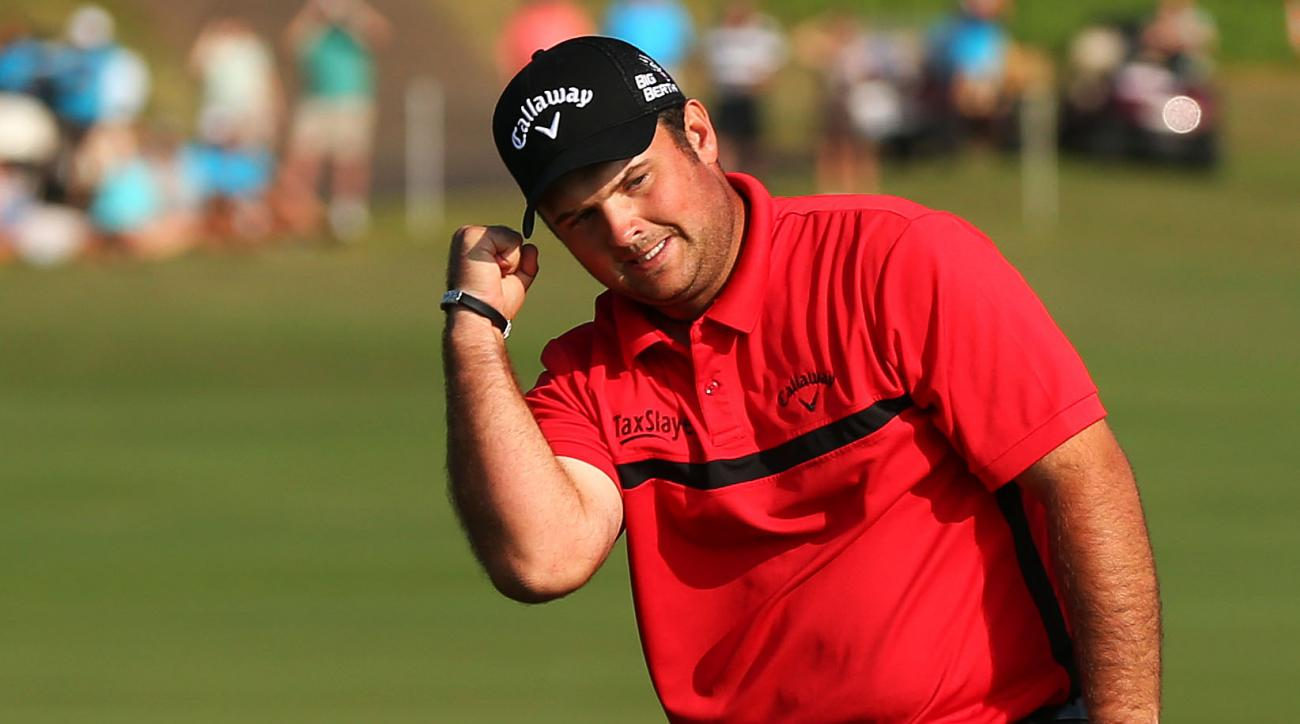 Patrick Reed celebrates on the 18th green after defeating Jimmy Walker on the first playoff hole at the Hyundai Tournament of Champions.