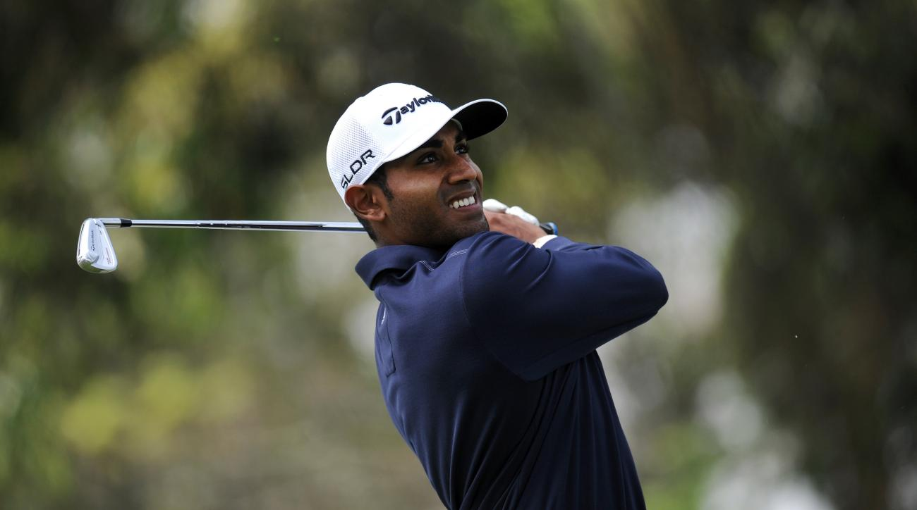 Bhavik Patel tees off in the first round of the Pacific Rubiales Colombia Championship in Bogota, Colombia.
