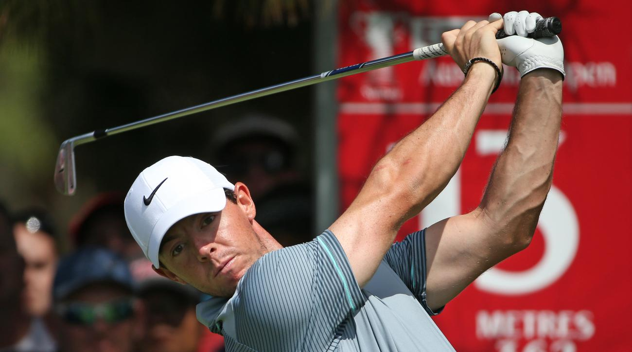 Rory McIlroy is near the lead after the first round of the Abu Dhabi Championship.