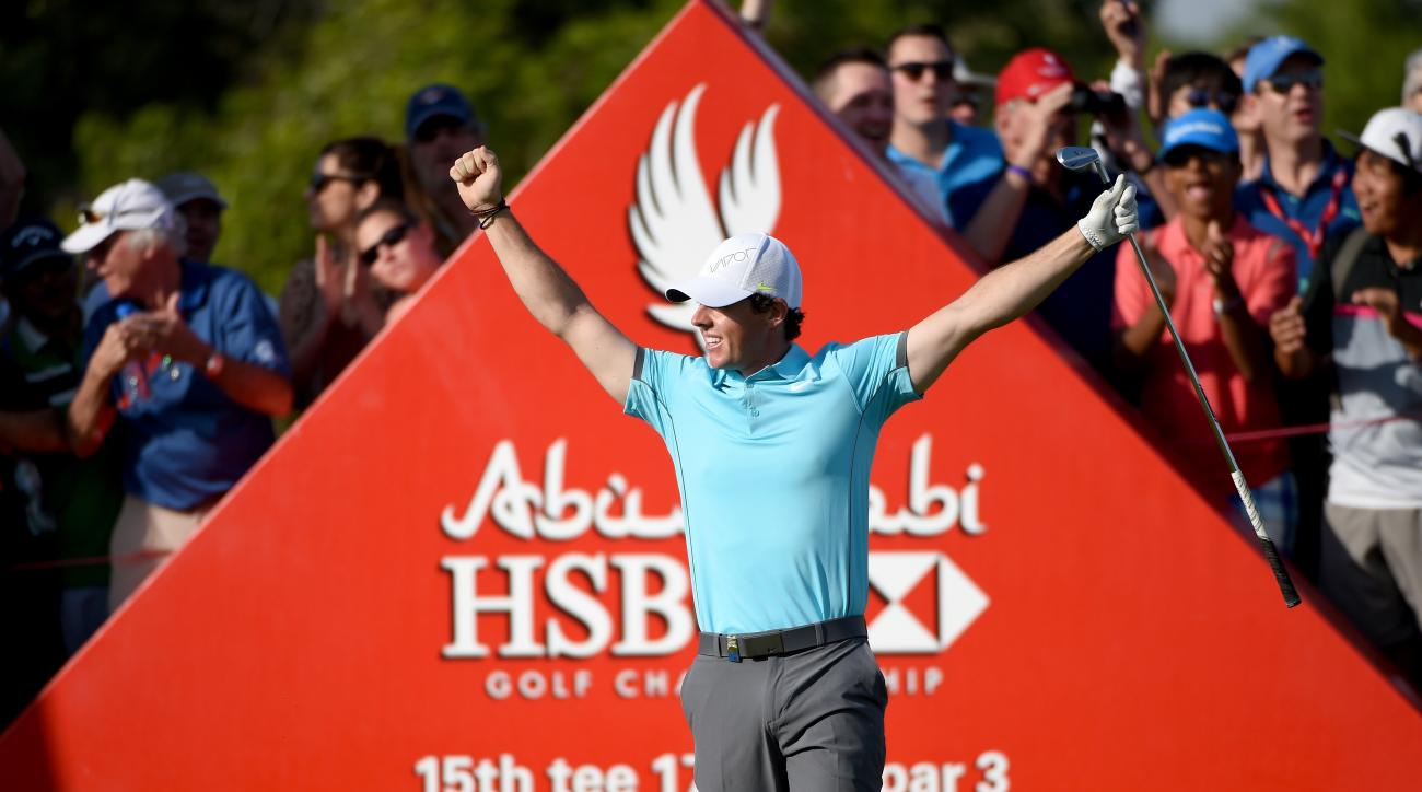 Rory McIlroy celebrates his ace in the second round of the Abu Dhabi HSBC Golf Championship.