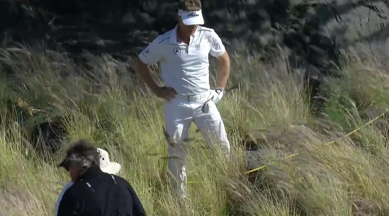 Bernhard Langer contemplates his lie on the par-5 seventh hole during the Mitsubishi Electric.