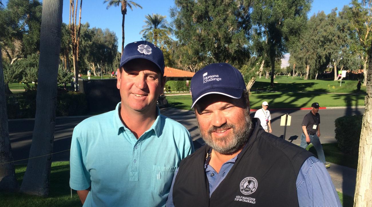 Tour winner Harrison Frazar and Golf Magazine's senior travel editor Joe Passov at the Humana Challenge in La Quinta, Calif.