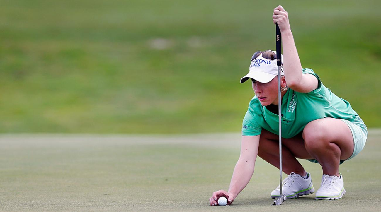 Brooke Pancake was in the lead when play was suspended Thursday.