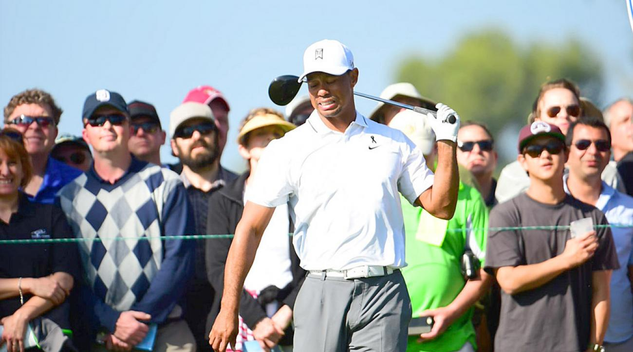 Tiger Woods withdrew from the Farmers Insurance Open after hitting his tee shot on the par-3 third hole.