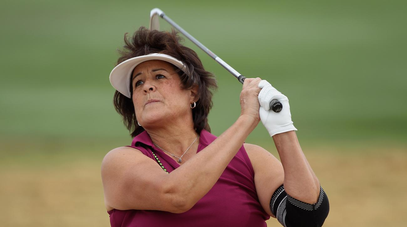LPGA legend Nancy Lopez plays a shot during the third round of the LPGA Founders Cup in 2012.
