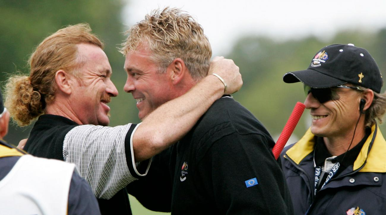 Miguel Angel Jimenez and Darren Clarke teamed up during the 2004 Ryder Cup at Oakland Hills Country Club.