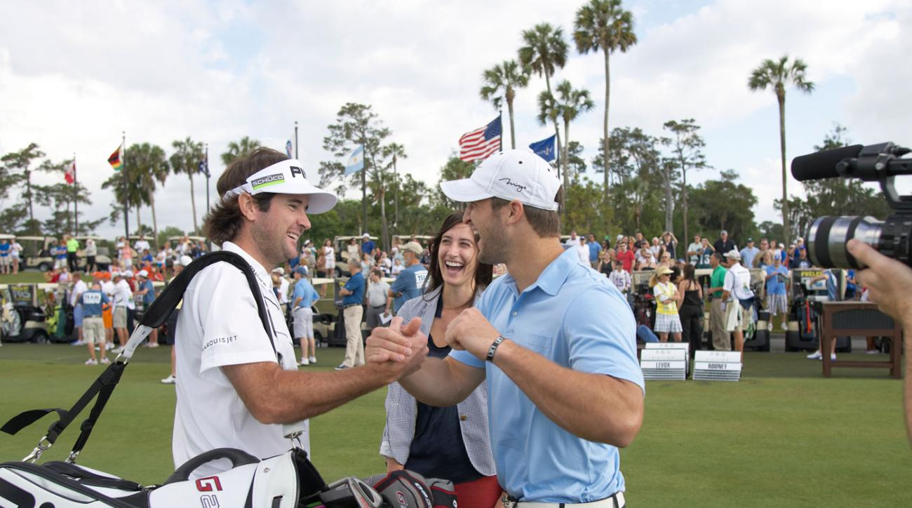 Tim Tebow and Bubba Watson got together during Tebow's 2012 charity tournament at TPC Sawgrass.