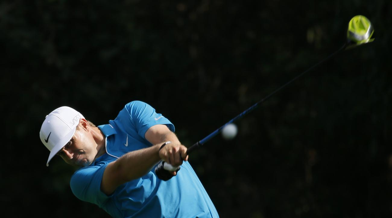 Nick Watney tees off on the 12th hole during the first round of the Northern Trust Open golf tournament at Riviera Country Club in the Pacific Palisades area of Los Angeles on Thursday, Feb. 19, 2015. (AP Photo/Danny