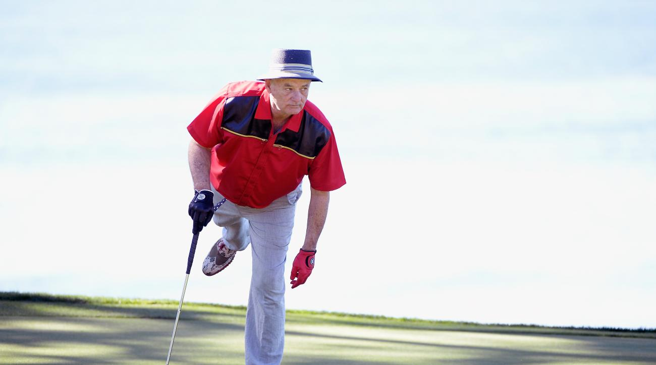 Actor Bill Murray watches a putt on the fifth green during the third round of the AT&T Pebble Beach National Pro-Am at the Pebble Beach Golf Links on Saturday in Pebble Beach, California. He appeared on SNL40 later that night.