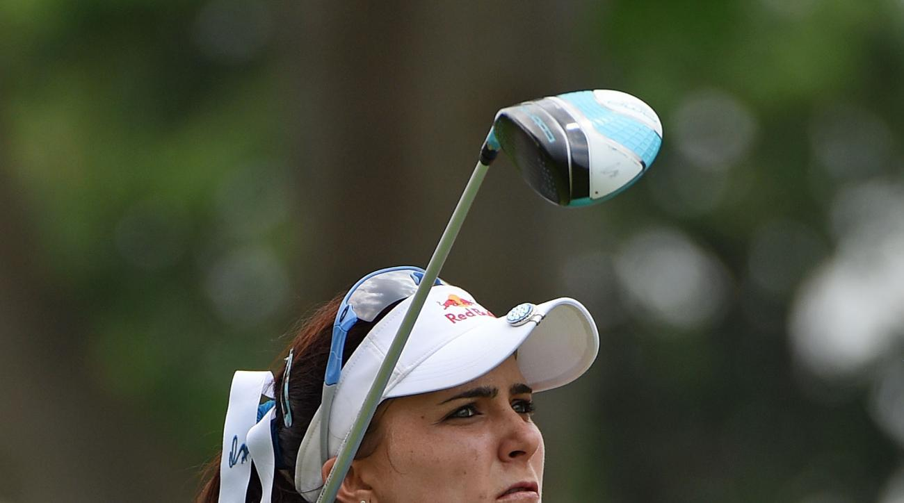 Lexi Thompson hits a tee shot during the first round of the 2015 HSBC Women's Champions.