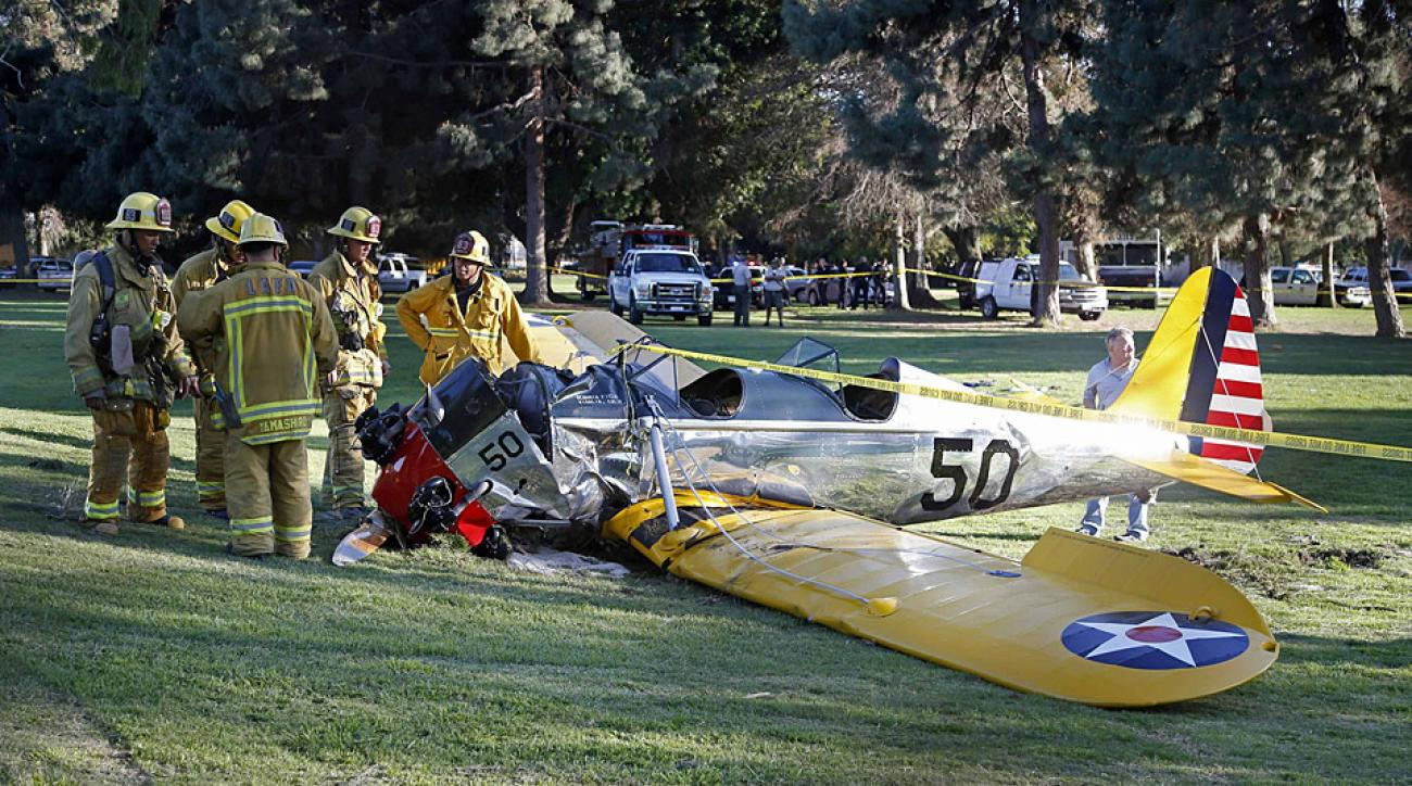 Harrison Ford's damaged plane at Penmar Golf Course.