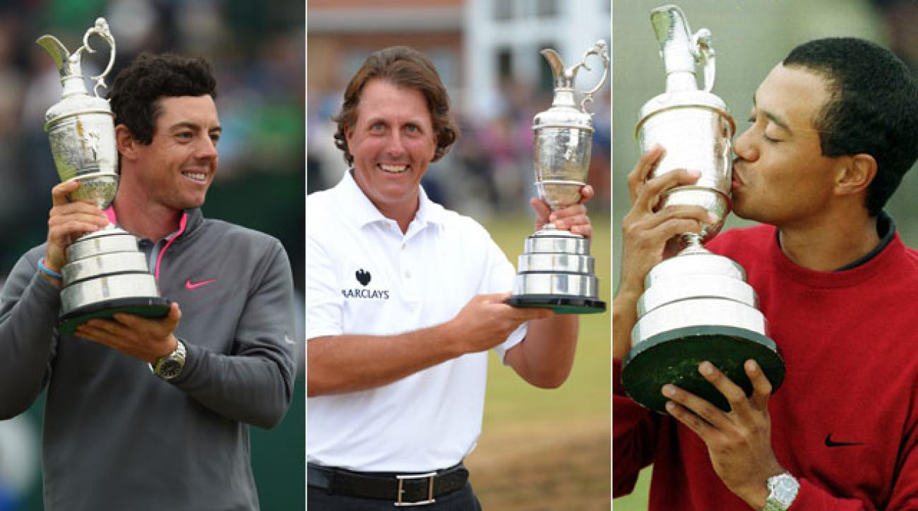 Rory McIlroy, Phil Mickelson and Tiger Woods have combined for five British Open victories.