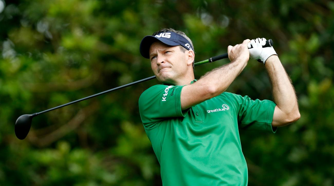 Mark Wilson tees off on the third hole during the second round of the Valspar Championship.