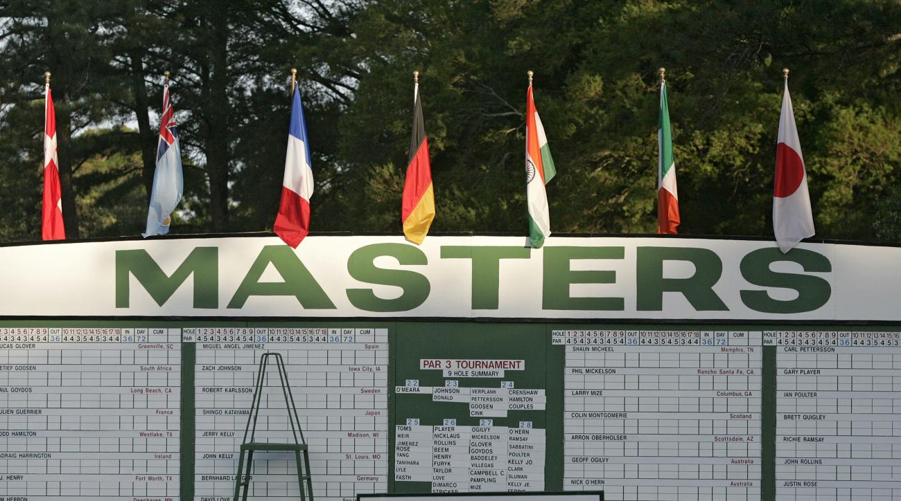 The scoreboard at Augusta National during the Masters.