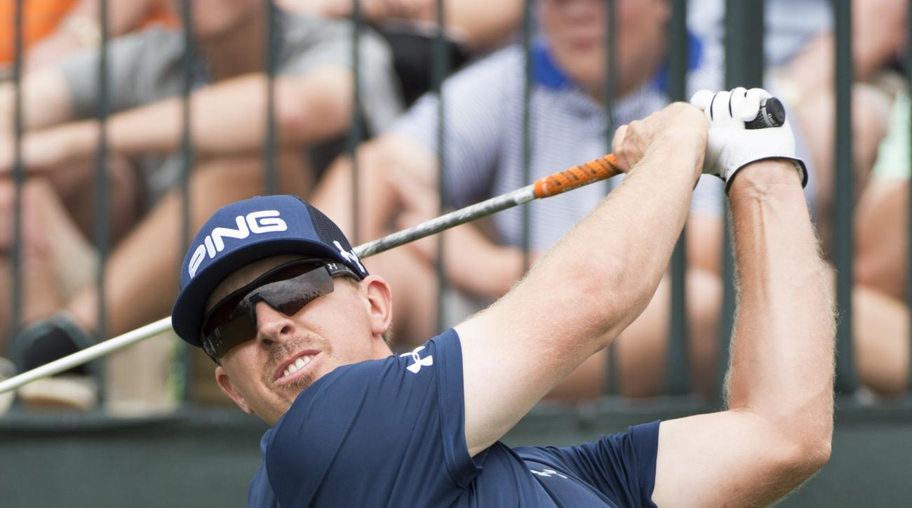 Hunter Mahan hits his tee shot on the first hole in the second round of the Houston Open golf tournament on Friday, April 3, 2015,  in Humble, Texas.
