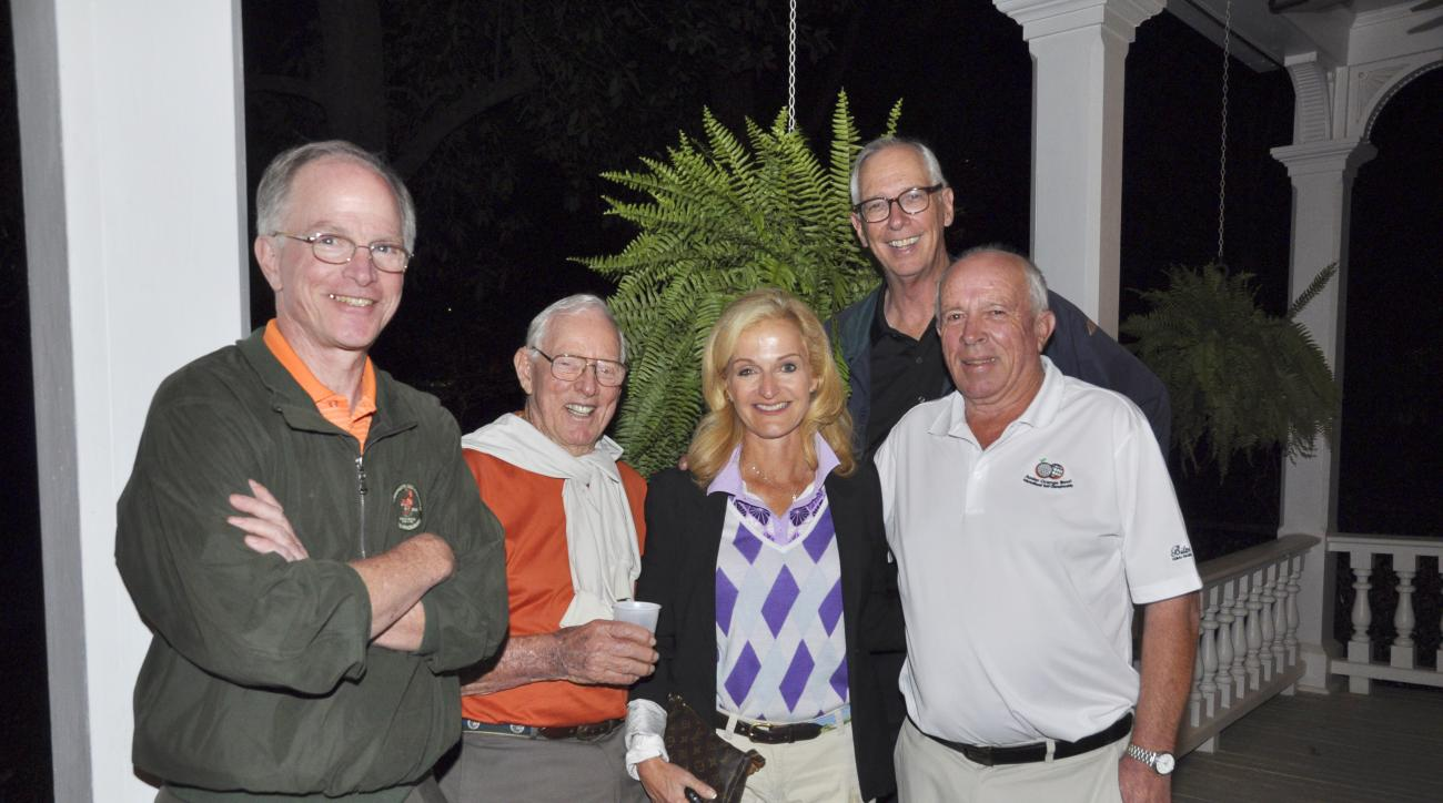 The author (back) with media friends from the Ould Sod at a recent bash.